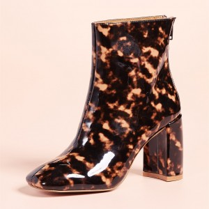 Brown Floral Chunky Heel Square Toe Fashion Zipper Ankle Booties