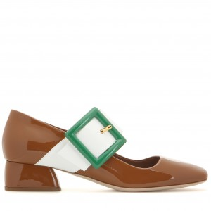 Brown Mary Jane Pumps White Buckles Chunky Heels Vintage Shoes