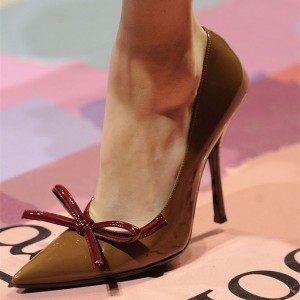 Brown Pointy Toe Bow Heels Original Stiletto Heel Pumps