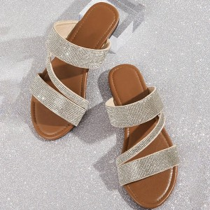 Brown Rhinestone Women's Slide Sandals