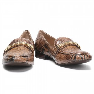 Brown Chain Round Toe Python Chunky Heels Loafers for Women