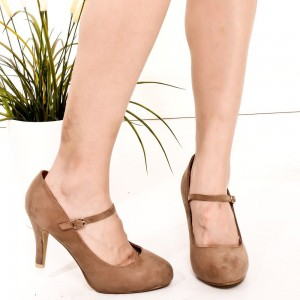 Brown Suede Mary Jane Pumps Round Toe Vintage Shoes