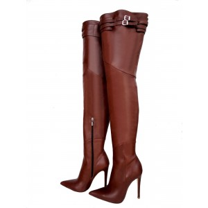Brown Zip Buckle Thigh High Heel Boots