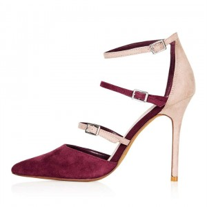 Maroon and Nude Pointy Toe Stiletto Heels Buckles Strappy Pumps