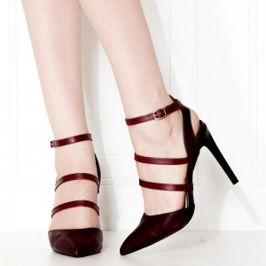 Burgundy Pointy Toe Sexy Stiletto Heels Buckles Strappy Heels Pumps