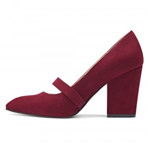 Burgundy Suede Mary Jane Heels Chunky Heels Vintage Shoes