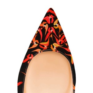 Maple Floral Pointy Toe Flats Suede Comfortable Shoes