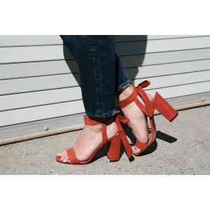 Red Block Heel Sandals Suede Prom Shoes