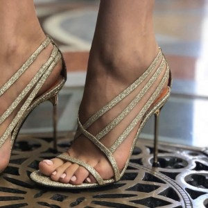 Champagne Glitter Evening Shoes Open Toe Stiletto Heels Prom Sandals