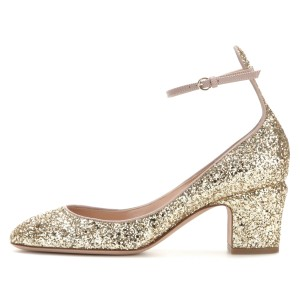 Gold Glitter Shoes Ankle Strap Chunky Heel Pumps