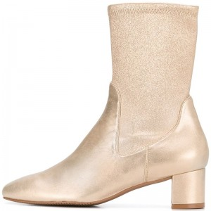 Champagne Sock Boots Block Heel Almond Toe Mid Calf Boots