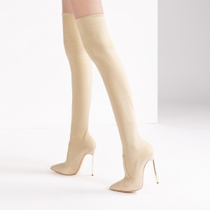 Champagne Thigh High Heel Boots