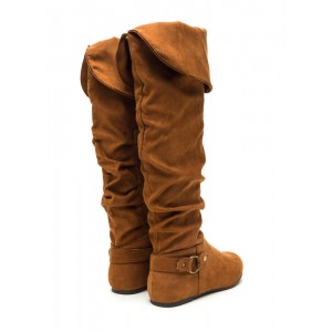 Chestnut Suede Round Toe Flats Slouch Boots Knee High Long Boots
