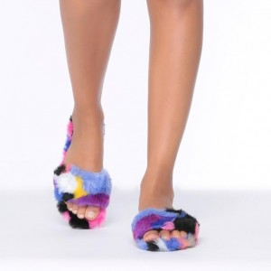 Colorful Furry Women's Slide Sandals Open Toe Flats US Size 3-15