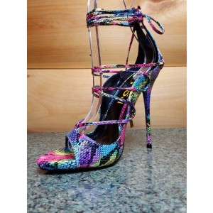 Multi-color Strappy Sandals Lace up Stiletto Heel Sexy Shoes