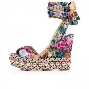 Colorful Satin Floral Heels Ankle Strap Platform Wedge Heel Sandals