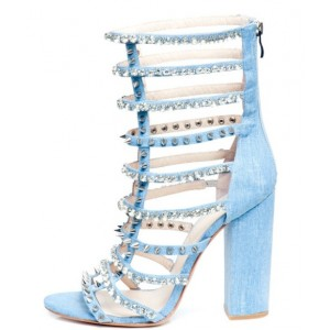 Blue Rivets and Rhinestones Strappy Sandals Open Toe Chunky Heels