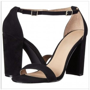 Custom Made Chunky Heel Ankle Strap Sandals in Black