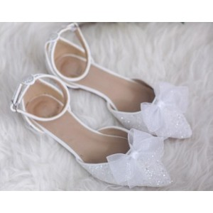 Custom Made White Sparkly Bow Detailed Wedding Flats