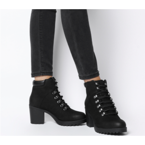 Custom Made Chunky Heel Lace up Ankle Boots in Black