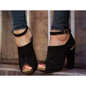 Custom Made Black Peep Toe Cut out Ankle Strap Booties