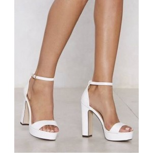 Custom Made White Chunky Heel Platform Ankle Strap Sandals