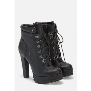 Custom Made Lace up Chunky Heel Platform Ankle Boots in Black