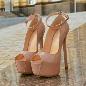 Custom Made Patent Leather Peep Toe Ankle Strap Pumps in Nude