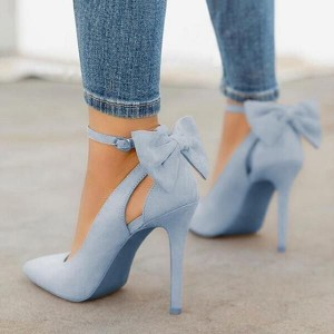 Custom Made Blue Suede Back Bow Ankle Strap Pumps