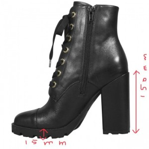 Custom Made Tread Sole Lace up Ankle Boots in Black