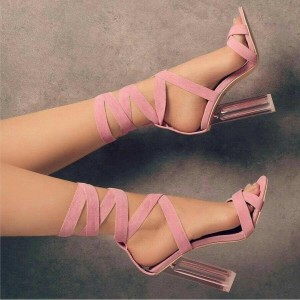 Custom Made Pink Suede Strappy High Heel Sandals