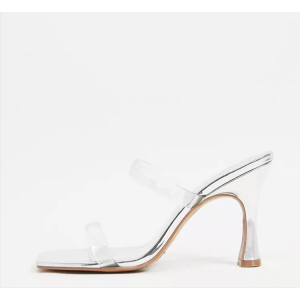 Custom Made Silver and Clear PVC High Heel Slide Sandals