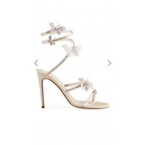 Custom Made Champagne Rhinestone Butterflies Ankle Wrapped Sandals