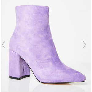 Custom Made Lilac Suede Block Heel Ankle Boots