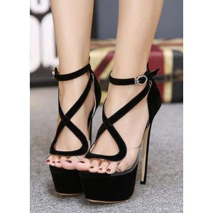 Custom Made Black Suede and Clear Platform High Heel Sandals