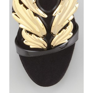 Custom Made Black and Gold Wing Sandals