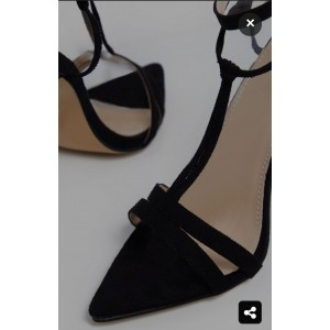 Custom Made Black Ankle Strap and T Strap Sexy High Heel Sandals