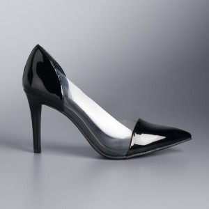Custom Made Black Patent Leather and Clear Pointy Toe Pumps