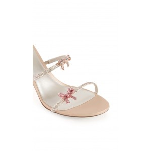 Custom Made Champagne Butterflies Ankle Wrapped Sandals