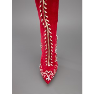 Custom Made Red Floral Lace up Over Knee Boots
