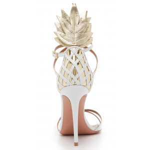 Custom Made White and Gold Pineapple Style Sandals