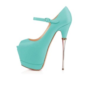 Turquoise Peep Toe Platform Mary Jane Stripper Heels