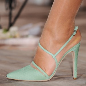 Turquoise Twisted Strap Slingback Heels Pointy Toe Stiletto Heel Pumps