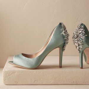 Cyan Wedding Shoes Satin Peep Toe Rhinestone Stiletto Heels Pumps