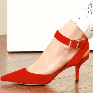Jacinth Red Suede Ankle Strap Heels Pointy Toe Pumps