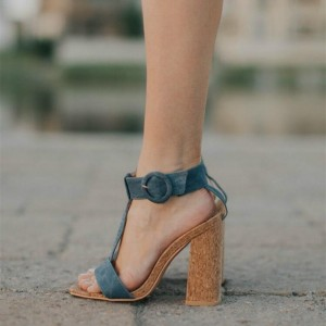 Denim T Strap Block Heel Sandals Blue Jean Sandals for Women
