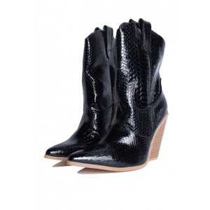 Black Snakeskin Slip on Boots Pointy Toe Chunky Heel Western Boots