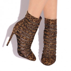 Leopard Booties Stiletto Heel Cheetah Suede Mesh Ankle Boots