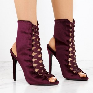 Burgundy Boots Peep Toe Stiletto Heel Slingback Lace up Ankle Booties