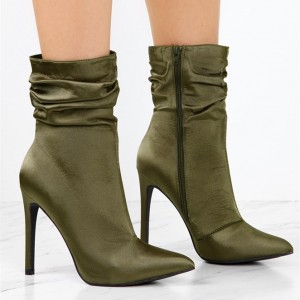 Fashion Forest Green Stiletto Boots Satin Pointy Toe Ankle Boots